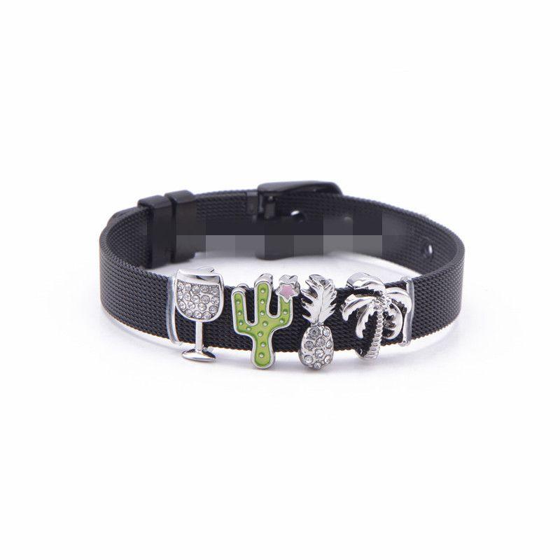 Titanium&Stainless Steel Simple Geometric bracelet  (Black bracelet) NHSX0310-Black-bracelet