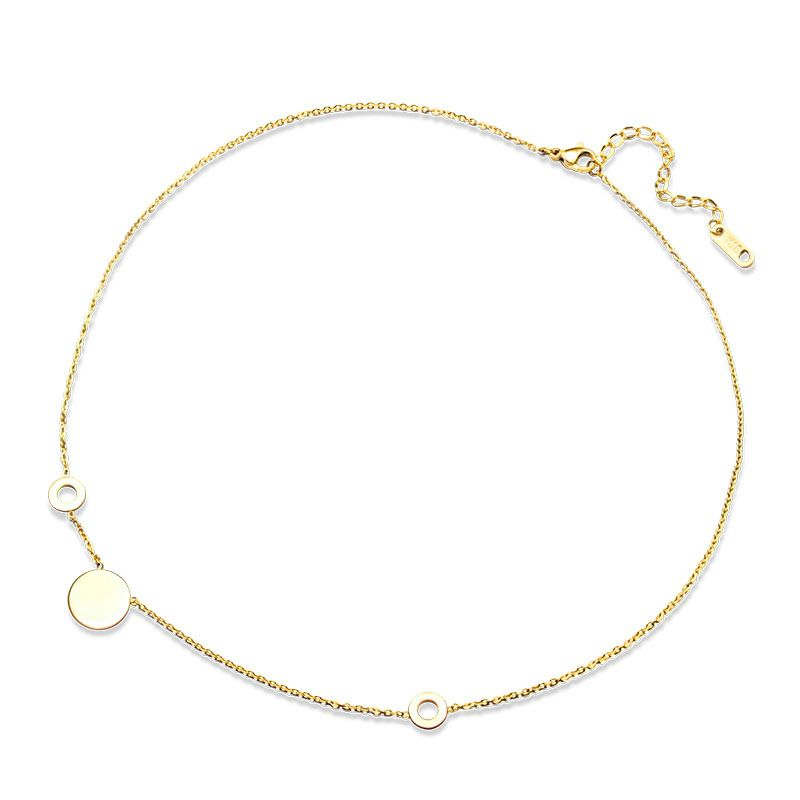 Titanium&Stainless Steel Korea Geometric necklace  (Rose Alloy 40+5cm) NHOK0317-Rose-Alloy-40+5cm