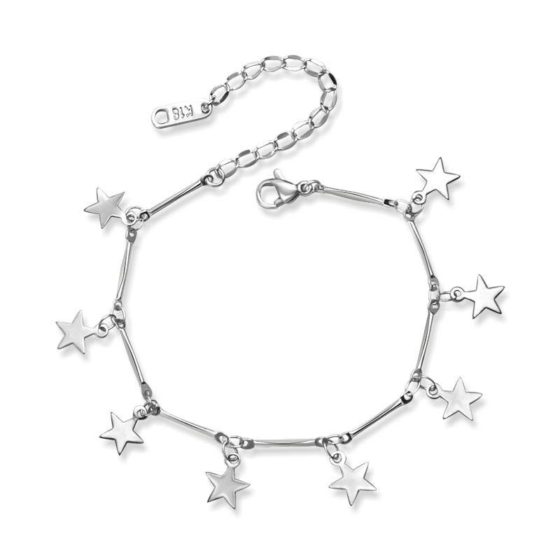 Titanium&Stainless Steel Simple Geometric bracelet  (Steel color 15+5cm) NHOK0346-Steel-color-15+5cm