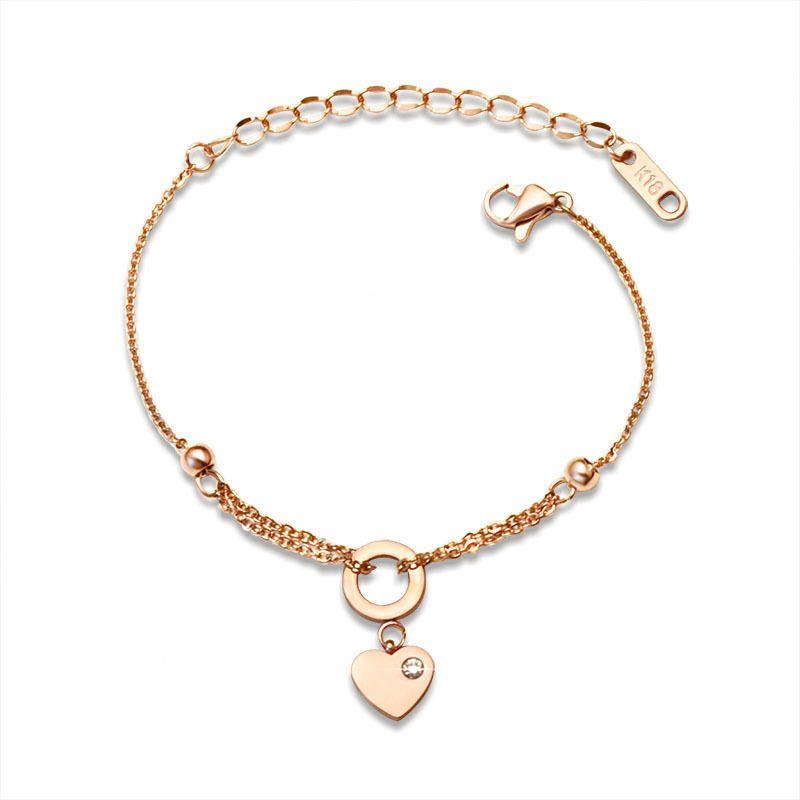 Titanium&Stainless Steel Simple Geometric bracelet  (Rose alloy 15+5cm) NHOK0352-Rose-alloy-15+5cm