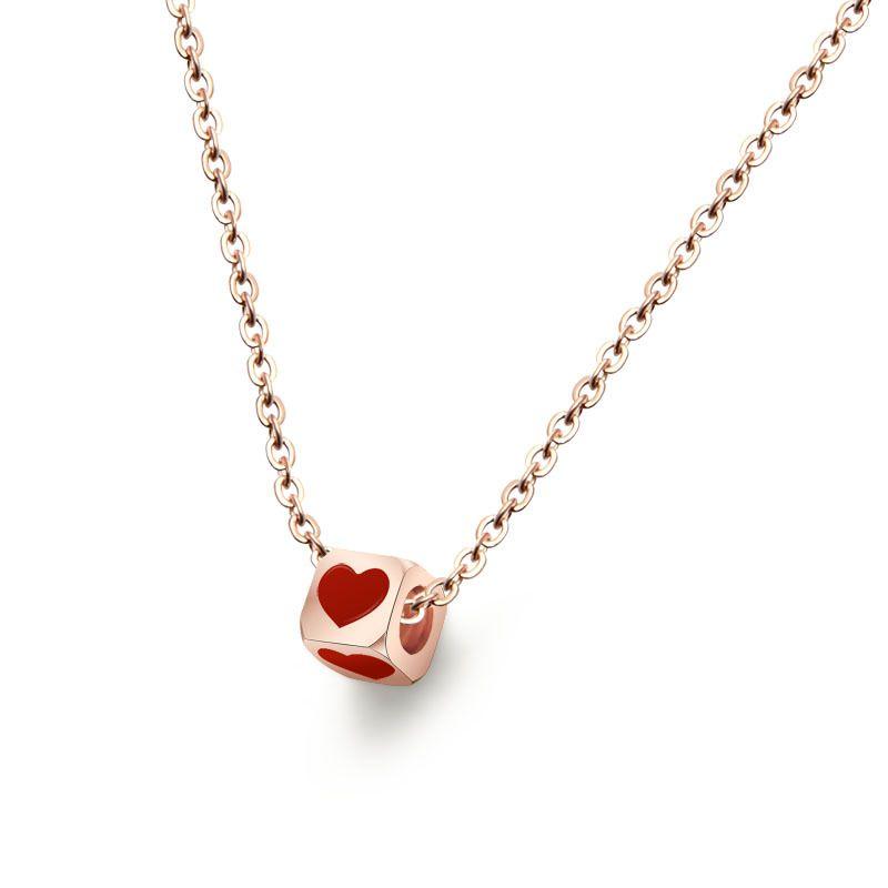 Titanium&Stainless Steel Korea Geometric necklace  (Rose Alloy 40+5cm) NHOK0353-Rose-Alloy-40+5cm