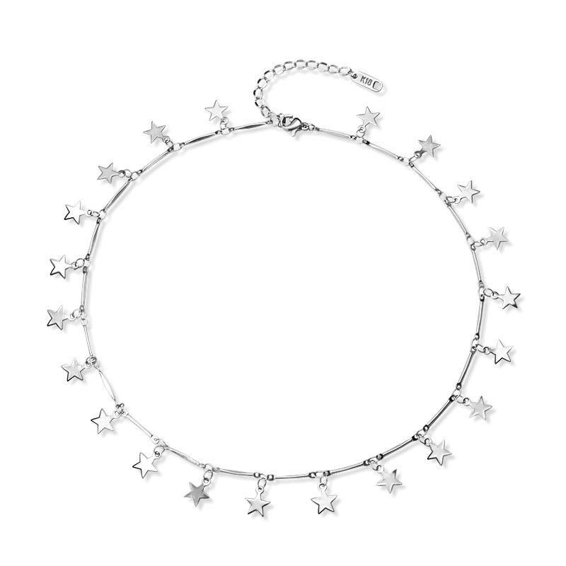 Titanium&Stainless Steel Korea Geometric necklace  (Steel color 40+5cm) NHOK0351-Steel-color-40+5cm
