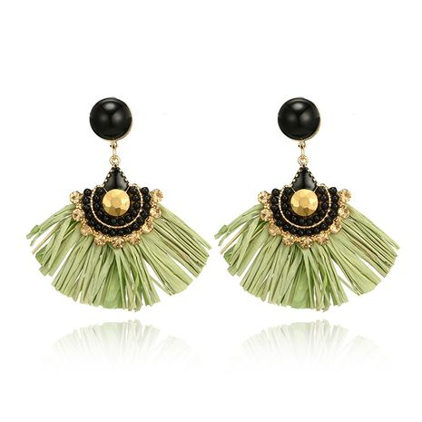 Alloy Vintage Tassel earring  (green) NHGY2392-green's discount tags