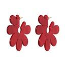 Plastic Korea Flowers earring  red NHJJ5081red