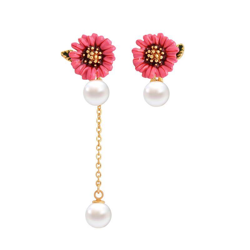 Copper Korea Flowers earring  Rose red1 NHQD5566Rosered1