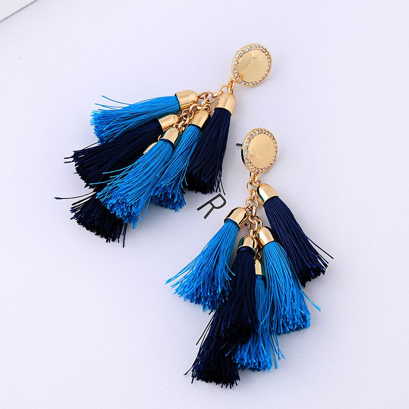 Alloy Fashion Tassel earring  (Blue-1) NHQD5569-Blue-1