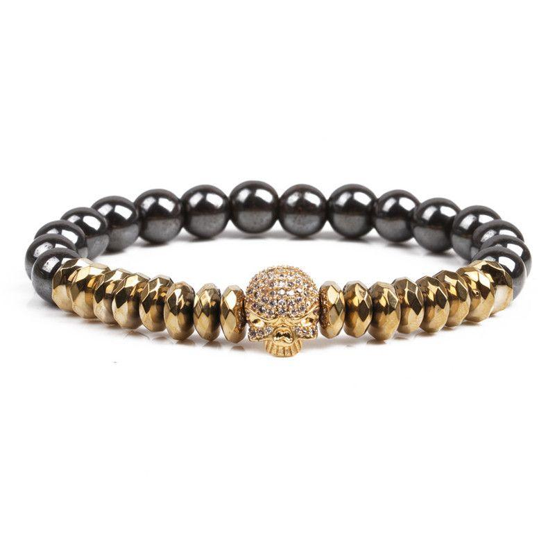 Natural Stone Fashion Skeleton Skull bracelet  Alloy NHYL0123Alloy