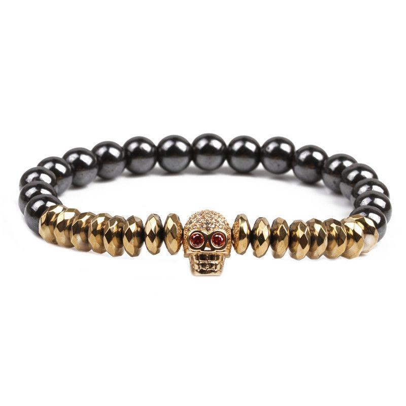 Natural Stone Fashion Skeleton Skull bracelet  Alloy + spacer NHYL0155Alloyspacer