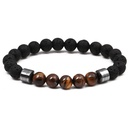 Natural Stone Fashion Geometric bracelet  Tiger Eye +5 Volcanic Stone NHYL0101TigerEye+5VolcanicStone