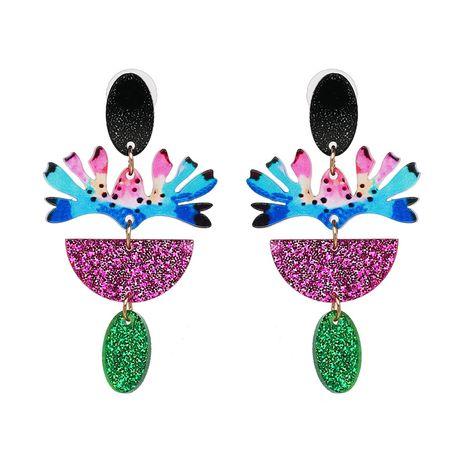 Plastic Fashion Flowers earring  (Purple color) NHJJ5197-Purple-color's discount tags