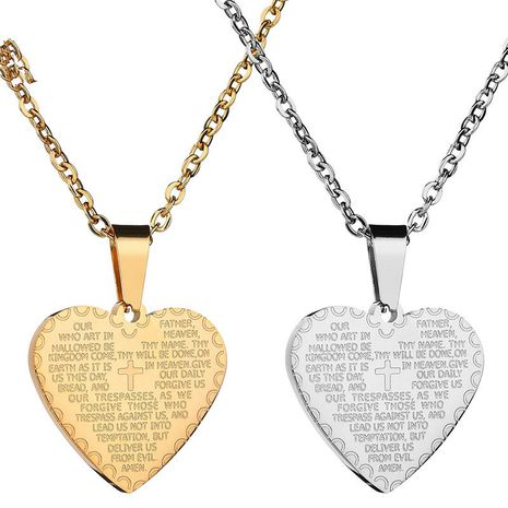 Titanium&Stainless Steel Punk Sweetheart necklace  (Steel color) NHHF1047-Steel-color's discount tags