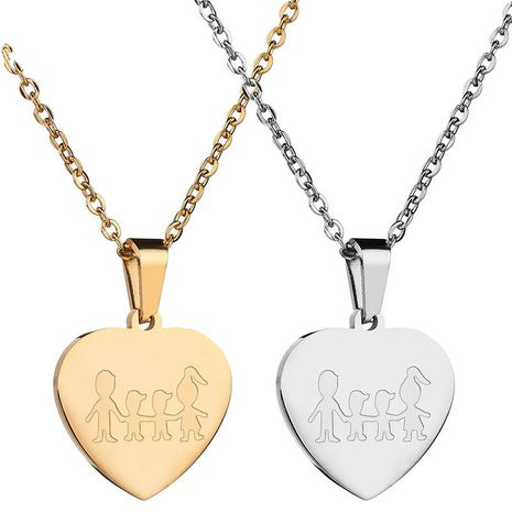 Titanium&Stainless Steel Simple Sweetheart necklace  (Steel color) NHHF1062-Steel-color's discount tags