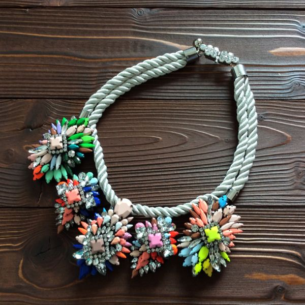Alloy Fashion Flowers necklace  (Mixed color) NHTH0105-Mixed-color