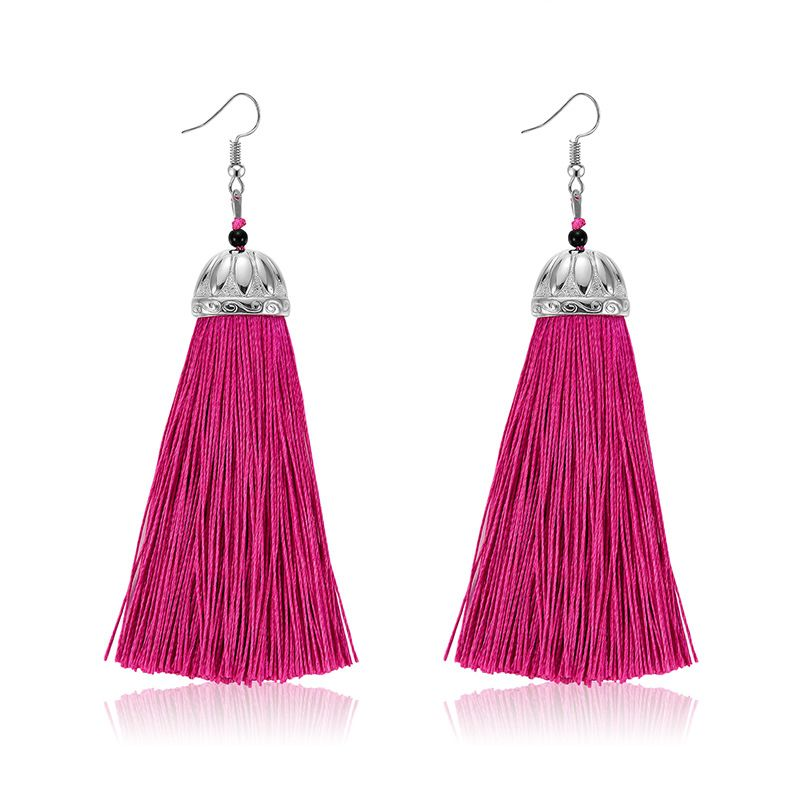 Alloy Bohemia Tassel earring  (61189531 rose red) NHXS1828-61189531-rose-red