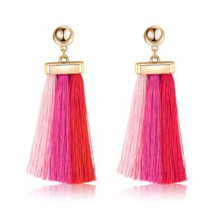Alloy Bohemia Tassel earring  (61189565 red light pink) NHXS1865-61189565-red-light-pink's discount tags