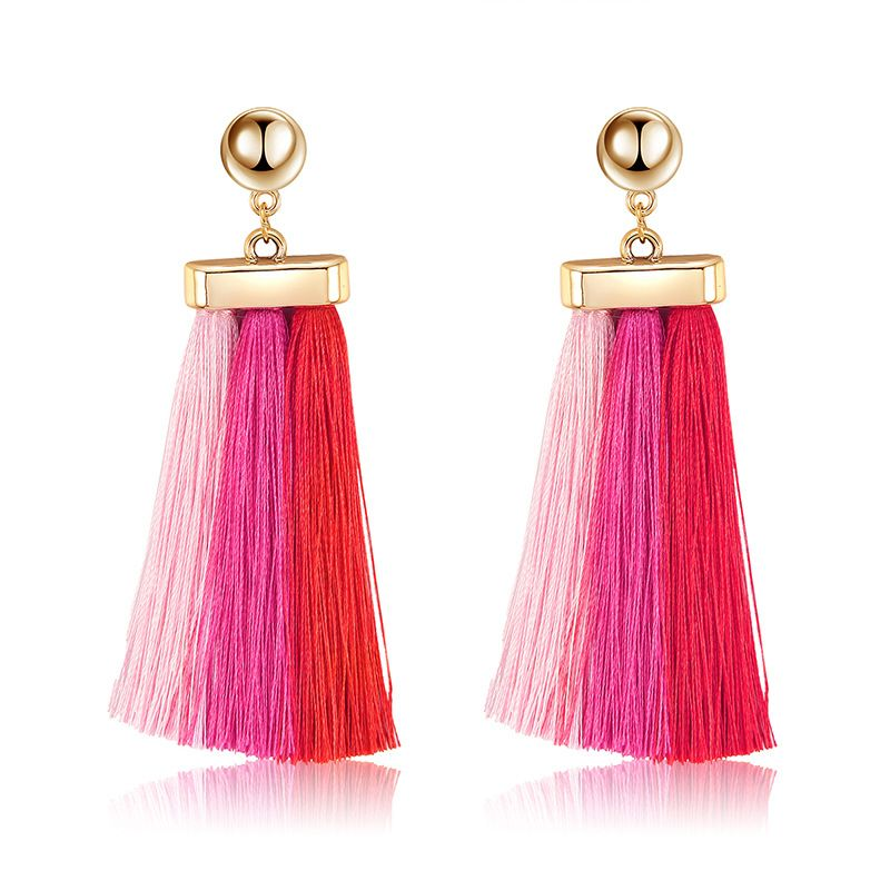 Alloy Bohemia Tassel earring  (61189565 red light pink) NHXS1865-61189565-red-light-pink
