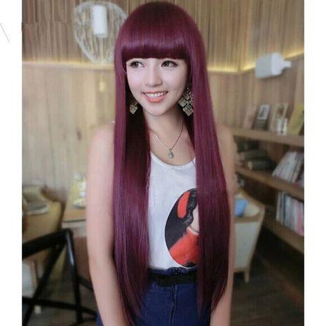 High-Temperature Fashion Straight wig  (Wine red Qi Liuhai) NHNF0079-Wine-red-Qi-Liuhai's discount tags