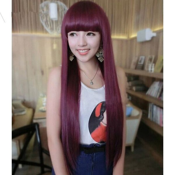 High-Temperature Fashion Straight wig  (Wine red Qi Liuhai) NHNF0079-Wine-red-Qi-Liuhai