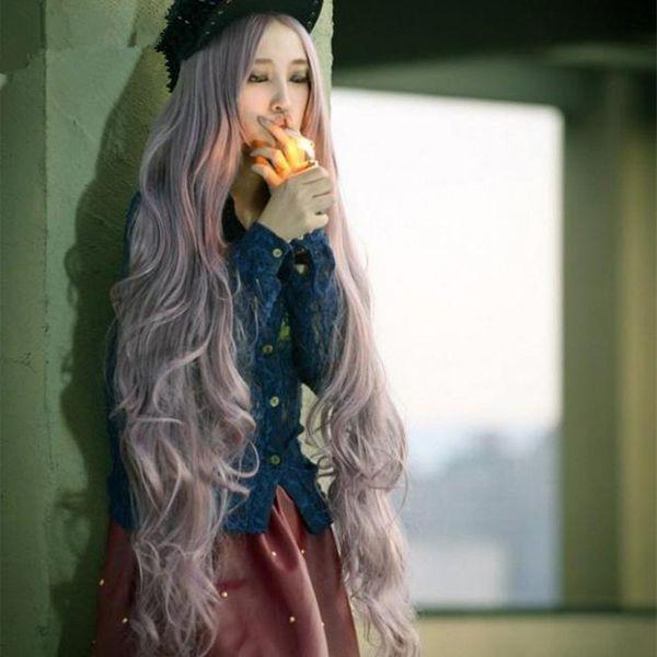 High-Temperature Cosplay Wavy wig  (Smoke purple) NHNF0086-Smoke-purple