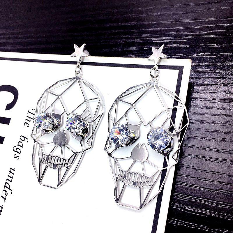 Cloth Fashion Skeleton Skull earring  (Alloy) NHSK0444-Alloy