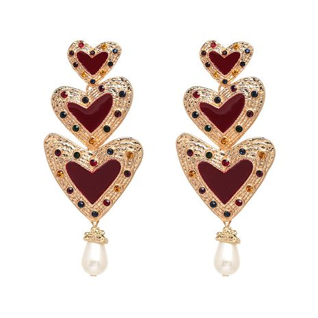 Alloy Fashion Sweetheart earring  (red) NHJJ5228-red's discount tags