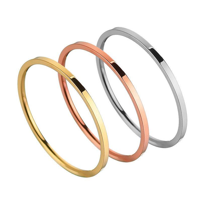 Titanium&Stainless Steel Korea Geometric Ring  (Steel color-6) NHHF1091-Steel-color-6