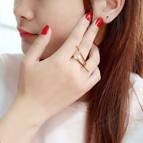 Titanium&Stainless Steel Fashion Geometric Ring  (Rose alloy) NHOK0410-Rose-alloy's discount tags