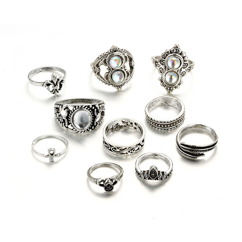 Alloy Vintage Geometric Ring  (Alloy) NHGY2576-Alloy