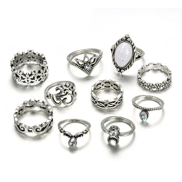 Alloy Vintage Flowers Ring  (Alloy) NHGY2580-Alloy
