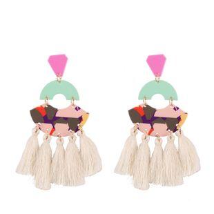 Plastic Fashion Tassel earring  (white) NHJQ10816-white's discount tags