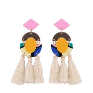 Plastic Fashion Tassel earring  (white) NHJQ10817-white's discount tags