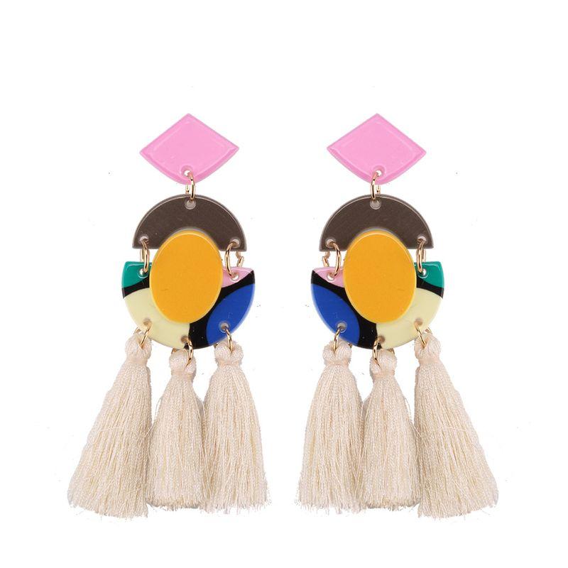 Plastic Fashion Tassel earring  white NHJQ10817white
