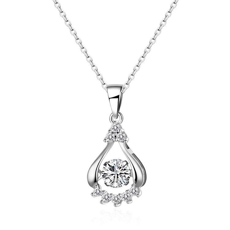 AAA Zircon Smart Water Drop Necklace Platinum NHKSE29304
