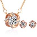 AAA Grade Zircon S925 Alloy Needle Necklace Set  Glittery Rose Alloy NHKSE29219