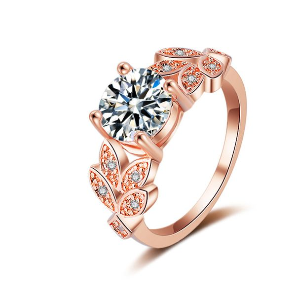 Copper Fashion Geometric Ring  (Rose Alloy-6) NHQL0079-Rose-Alloy-6