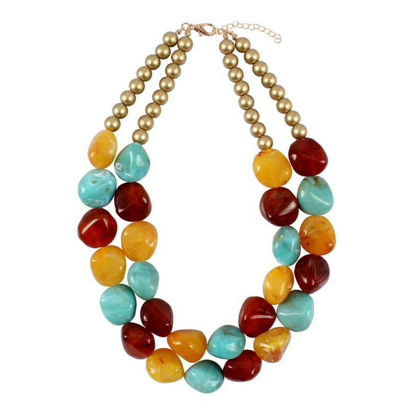 Plastic Fashion Geometric necklace  (yellow) NHCT0334-yellow
