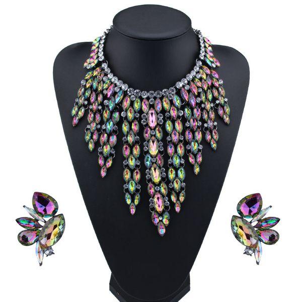 Imitated crystal&CZ Bohemia  necklace  (Deep color) NHJQ10838-Deep-color