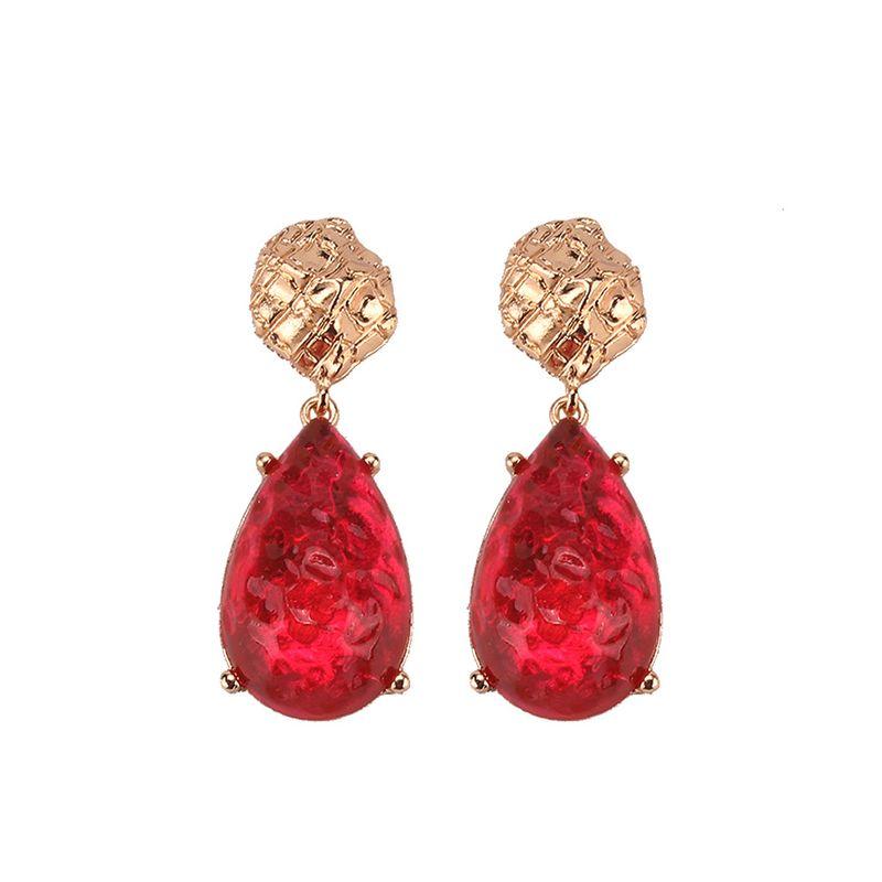 Imitated crystal&CZ Bohemia Geometric earring  (red) NHJQ10842-red