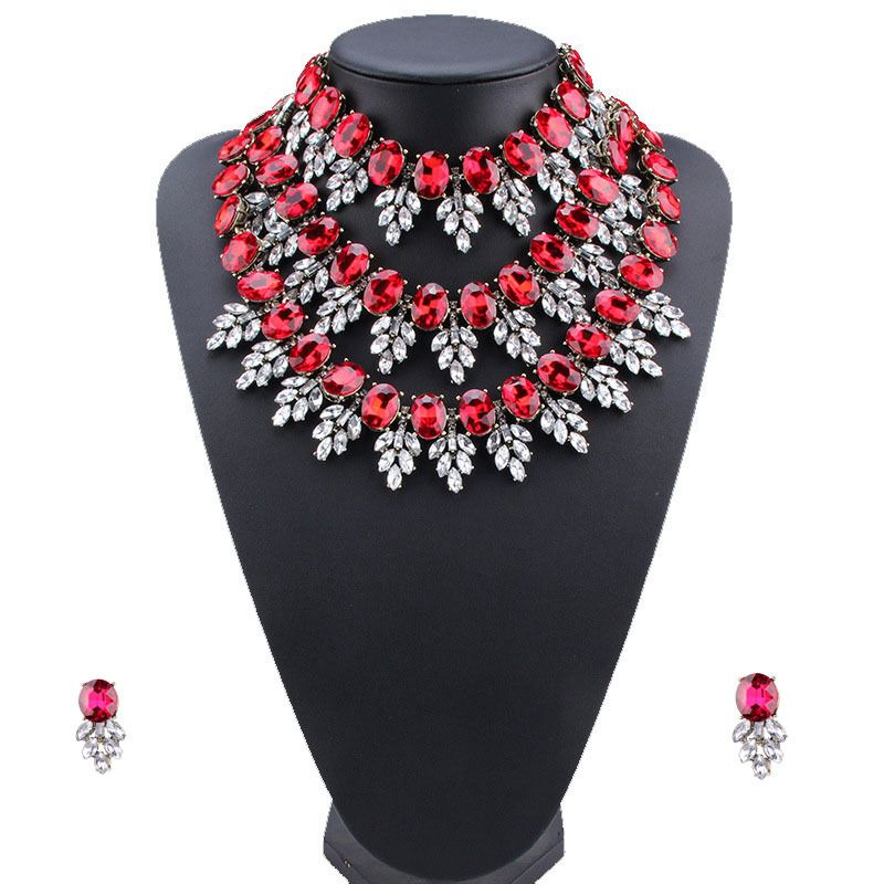 Imitated crystal&CZ Bohemia  necklace  (red) NHJQ10851-red