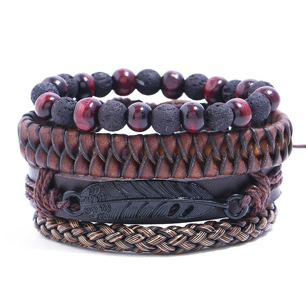 Leather Fashion Geometric bracelet  (Four-piece set) NHPK2120-Four-piece-set