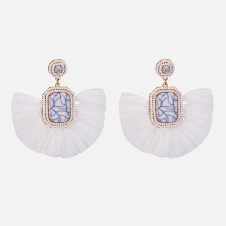 Cloth Fashion Tassel earring  (white) NHYT1283-white's discount tags