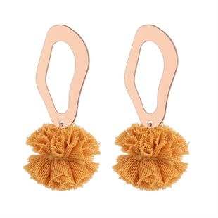 Korean version of the simple and simple wild ball earrings (yellow) NHNPS5237's discount tags