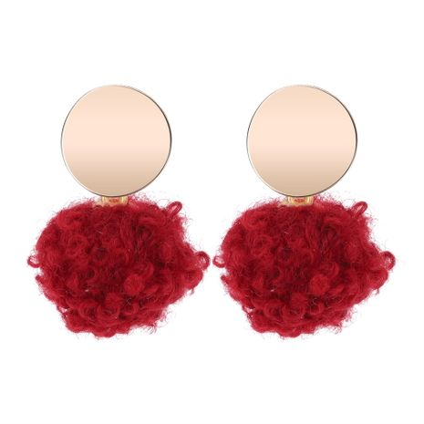 Korean version of the women s wild round ball earrings (red) NHNPS5239's discount tags