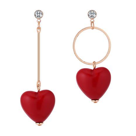 Korean version of the sweet wild asymmetric love earrings NHNPS5267's discount tags