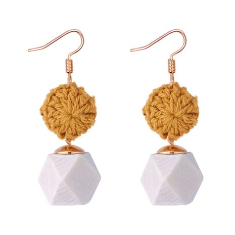 Japan and South Korea braided small disc polygon wood earrings (yellow) NHNPS5275's discount tags