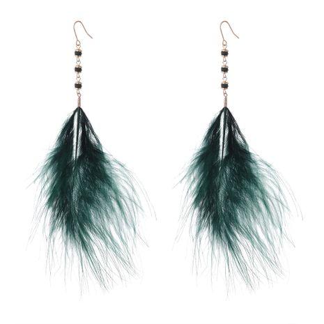 Version coréenne des nouvelles boucles d'oreilles en plumes à tempérament super féerique (vert) NHNPS5281's discount tags
