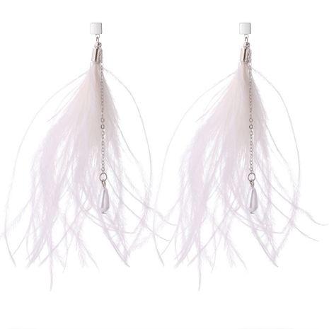 Version coréenne des élégantes boucles d'oreilles pendantes en plumes de tempérament (blanches) NHNPS5284's discount tags