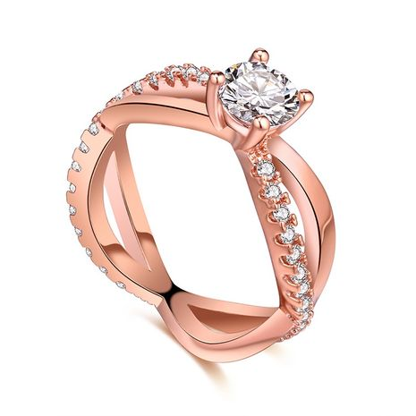 AAA micro-inlaid zircon ring--Love River (Rose Alloy) NHKSE29376-7's discount tags