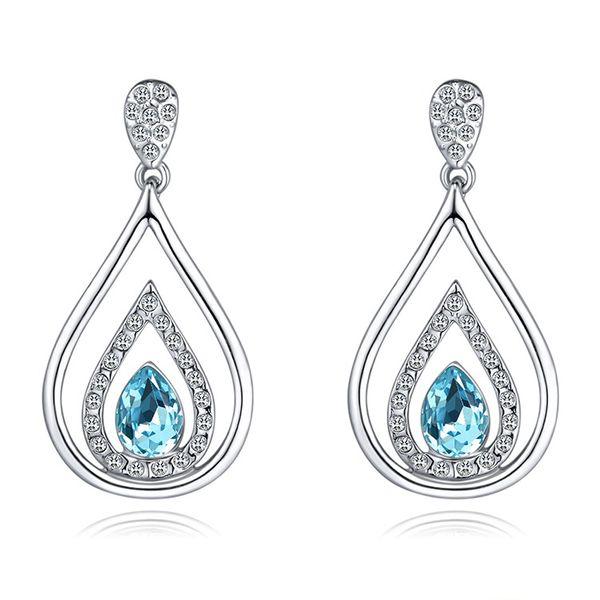 Austrian Imitated crystal Earrings - Love of Water Drops (Sea Blue) NHKSE29363