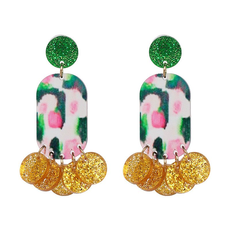 Plastic Fashion Tassel earring  Yellow + green NHJJ5157Yellowgreen